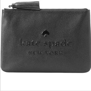 New KATE SPADE ♠️ Black Large Leather Tassel Pouch